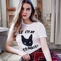 Fashion Leisure LE CHAT ZOMBIE Letters Printing Cultivate One's Morality Joker Women Summer T Shirt