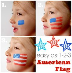 easy as 1-2-3 American Flag with DecoArt People Paint Face Painting Designs, Painting Patterns, Paint Designs, Body Painting, Painting Tutorials, 4th Of July Party, Fourth Of July, Blue Face Paint, Flag Face