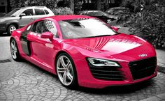 Pink Audi Car With Tree Shadows In Parking Pictures