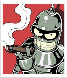 "Futurama Art Bender ""Insert Girder Here"" by Julie Lundy - The Incredible Art Gallery Cartoon Kunst, Cartoon Art, Cartoon Characters, Futurama Bender, Rock Poster, Silk Screen Printing, Graffiti Art, Comic Art, Illustration"