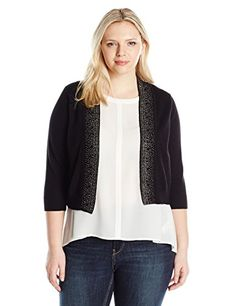 Ronni Nicole Women's Plus Size 3/4 Sleeve Shrug with Ombre Rhinestones - http://www.darrenblogs.com/2016/12/ronni-nicole-womens-plus-size-34-sleeve-shrug-with-ombre-rhinestones/