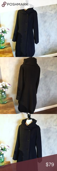 """Ariella Long wool coat Gorgeous black wool coat. Neckline is gathered and rounded for a chic look and hem is also gathered. It's very pretty and u it cut. Will work with just about anything. Feels very soft. 65% poly, 32% viscose, 3% spandex. Size L, length about 48"""".  It's in great condition but missing one inner button at the neckline. Ariella Jackets & Coats"""