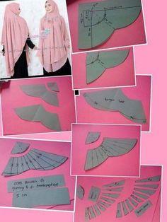 Tutor jahit jilbab - Her Crochet Muslim Fashion, Hijab Fashion, Clothing Patterns, Sewing Patterns, Abaya Pattern, Pola Rok, Modelista, Dress Making Patterns, Hijab Chic