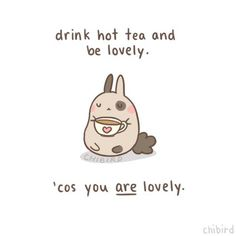 """""""Drink hot tea and be lovely.  'cus you ARE lovely."""" This is my life."""