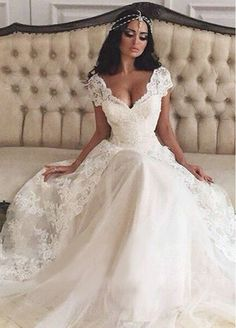 Gorgeous Tulle & Satin V-Neck A-Line Wedding Dresses With Beaded Lace Appliques