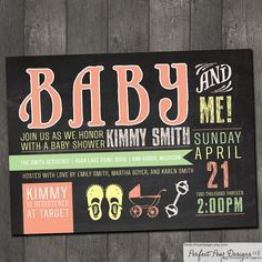 Baby Shower Invitation girl, boy, twins, neutral Vintage Chalkboard, Blackboard, Typography Label, Poster Style DIY Digital Printable on Etsy, $16.00