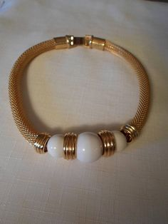 GOLD CHOKER NECKLACE / Bib / Pendant / White / Chainmail /