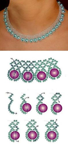 Schemes for a beaded necklace. Fashionable necklaces for women | Laboratory household