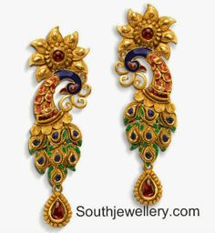 Peacock Earrings designs looks fabulous when worn with traditional and trendy sarees/salwar kameez. Astonishing design & radiant look peacock earrings. Gold Earrings Models, Gold Jhumka Earrings, Jewelry Design Earrings, Gold Earrings Designs, Designer Earrings, Necklace Designs, Jewellery Designs, Gold Jewelry, Jewelery