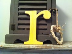 Handpainted Wooden Wall Letter - Distressed - 'r' - New Times Roman - lowercase £4.00