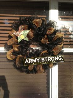 Army Strong Wreath black & gold decomesh with camo star. Has name of the Cadet.