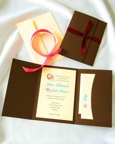 Chocolate Truffle Pocket folder wedding invitations, everything you need to create and print your own stunning invitations. #wedding invitations