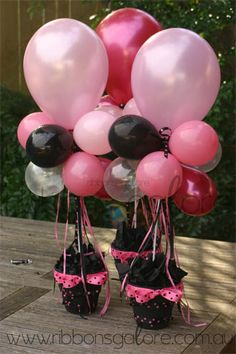 Your potted balloon arrangements are now ready to enjoy. Ballon Decorations, Balloon Centerpieces, Party Decoration, Birthday Decorations, Table Decorations, Masquerade Centerpieces, Shower Centerpieces, Centrepieces, Wedding Centerpieces