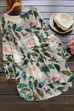 A| Cotton Floral Short Sleeve Shift Dress-Cheap Casual Dresses | Chicloth Floral Shirt Dress, Floral Print Shirt, Mini Shirt Dress, Blouse Dress, Floral Tunic, Floral Sleeve, Printed Blouse, Shift Dresses, Long Dresses
