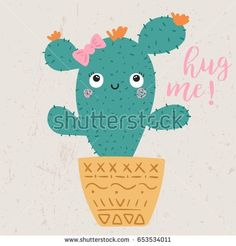 cute cactus illustration with slogan, vectors