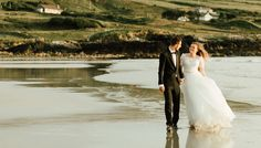 Ligia and Beni's fun and full of emotion couple's trash the dress session at the amazing Glassilaun beach Atlantic Way in Connemara at magical golden hour. Irish Beach, Connemara, Beach Weddings, Couples, Wedding Dresses, Photography, Beautiful, Fashion, Weddings At The Beach