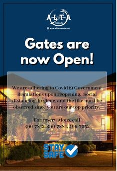 We're back! For inquiries and reservations kindly contact 496-7812, 496-7881- 496-7052.  #AltaResorts #AltaCebu #MakeItAlta Tropical Beach Resorts, Village Hotel, Sands Resort, Flooring Store, Bohol, Advertising Ads, Mountain Resort, Travel Companies, Just Relax
