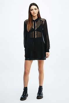 Pins & Needles Lace Insert Chiffon Shirt in Black - Urban Outfitters