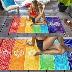 Buy Creative rainbow Boho Beach Mat Mandala Blanket Striped Wall Hanging Tapestry Scarf Yoga Mat at Cute - Beauty Shopping Tie Dye Rainbow, Rainbow Beach, Manta Mandala, Beach Towel, Beach Mat, Indiana, Mandala Blanket, Yoga Blanket, Beach Blanket