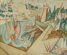 size: Giclee Print: Landscape, 1912 by Amadeu de Souza-Cardoso : Corpus Christi, Landscape Illustration, Illustration Art, Cubism Art, Modernisme, Art Database, Art Institute Of Chicago, Paint Designs, All Art
