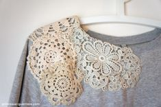 DIY sweat shirt refashion- lace doilies on shoulders