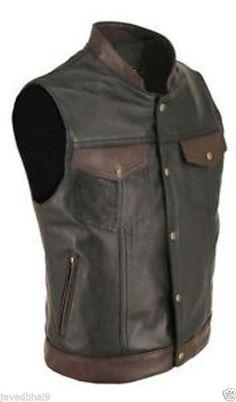 ff4464b55f 100% Genuine Cow Leather Black Brown Biker Waistcoat   Stylish Vest   ZSLeatherInternational  BikerVest