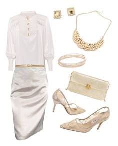 """""""Gold and Silk"""" by heatherjoy123 on Polyvore featuring Richards Radcliffe, Lanvin, Manolo Blahnik, Ann Taylor, Kate Spade, David Yurman and Tory Burch"""