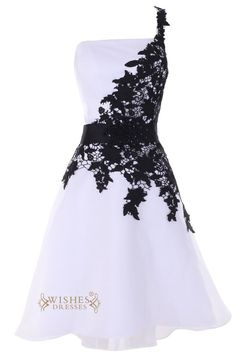 White organza short gown with black lace one strap and asymmetrical covered layer while the back closed with corset,this pretty homecoming dress for formal party and black cocktail dress with high qua