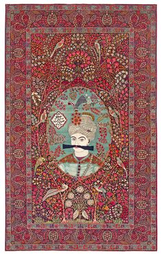 Persian Kerman Laver rug, with a portrait of Shah Abbas and an inscription (Safavie Shah Abbas), most likely made by Ali Kermani.