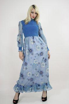 Vtg vintage 70s sheer draped floral print bohemian glam maxi dress