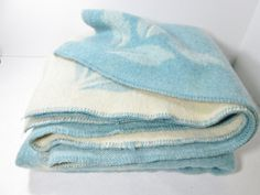 Vintage Wool Blanket Blue Cream by GirlPickers on Etsy, $55.00