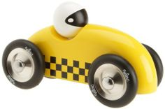 Vilac Race Car Toy, Yellow by Vilac. $28.49. Perfectly sized for small hands to grip, this sleek yellow sporty race car will soon become a favorite. A driver sits inside the race car. It's smooth fast riding all the way and there are no sharp edges on this vehicle. Made of hardwood and lacquered with non-toxic finish/paint.