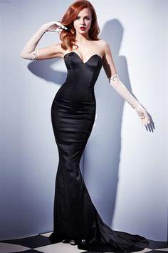 Black Satin Gilda Dress. Base for wedding dress. Satin fitted sweetheart corset mermaid gown. jaglady