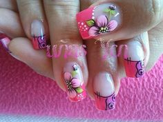 Uñas Diy Nails, Cute Nails, Pretty Nails, Square Nail Designs, Nail Art Designs, French Nails, Bridal Nail Art, Magic Nails, Flower Nail Art