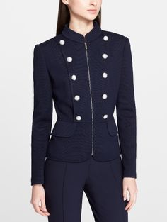 This navy St. John Collection knit military jacket is an absolute beauty. It's tailored to perfection.