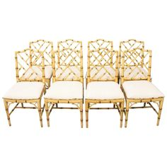 Wicker Table And Chairs, Side Chairs, Chair Upholstery, Chair Fabric, Rustic Stone, Bamboo Furniture, Faux Bamboo, 1970s, Wood