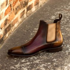 Handcrafted Custom Made Chelsea Boot Classic in Italian Raw Crust Leather with a Burgundy and Cognac Crust Patina From Robert August. Create your own custom designed shoes. Women's Shoes, Mens Shoes Boots, Mens Boots Fashion, Hot Shoes, Shoe Boots, Dress Shoes, Fancy Shoes, Shoes Style, Men's Style