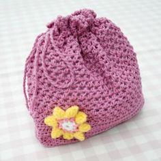 FREE Crochet Drawstring Bag - Knitting Pattern