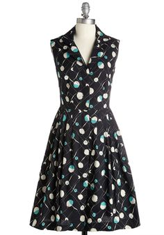 Bake Shop Browsing Dress in Blooms. Whether it's the local pie shop or a neighborhood bake sale that's luring you in, you're bound to gather some goodies with style in this blooming shirt dress by Emily and Fin! #black #modcloth