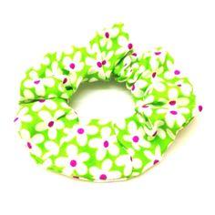 Green Floral Scrunchie-£2 #prettytwisted #accessories #scrunchie http://prettytwistedonline.co.uk/product/bright-green-floral-scrunchie/