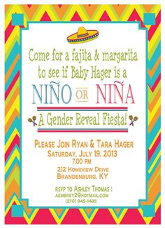Adorable Mexican Fiesta themed invitation for your gender reveal party! Boy Baby Shower Themes, Baby Shower Gender Reveal, Baby Gender, Baby Boy Shower, Mexican Babies, Baby Bug, Gender Party, Printable Baby Shower Invitations, Elephant Baby Showers