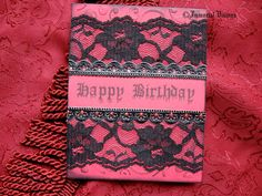 Items similar to Gothic Happy Birthday Greeting Card - Laced Black & Red on Etsy Happy Birthday Gothic, Happy Birthday Greeting Card, Greeting Cards, Halloween Scrapbook, Bday Cards, Diy Birthday, Crafts To Make, Christmas Cards, Card Making