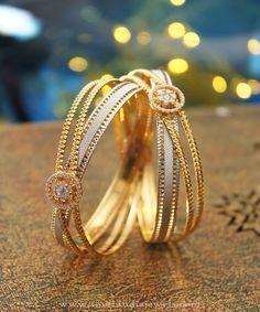 22K Designer Gold Bangles From Manubhai Jewellers, Gold Designer Bangle Collections 2016, Latest Gold Designer Bangle Models.