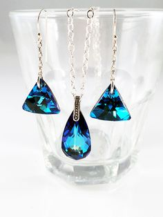 $64.99 USD Stunning Swarovski Jewelry Sets. Gorgeous! Heavenly Blue. Something Blue, peacock, summer, ocean, Lord of the rings wedding theme, party or for awesome bling! SybellasBlessingShop.com