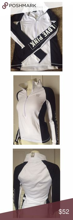 VS PINK black & white ultimate deep zip XS 🆕!! Black & white deep zip pull over running work out top! I loooove this so much but it is 1 size too small for me. The inside is super soft like a lightweight fleece material. Has a tiny zipper pouch in the back. My husband got this for me and paid full price so please only reasonable offers! I DO NOT TRADE. PINK Victoria's Secret Tops Sweatshirts & Hoodies