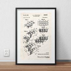 Lego brick patent Poster - DIGITAL PRINTABLE poster - Instant DOWNLOAD - jpg-file - A4