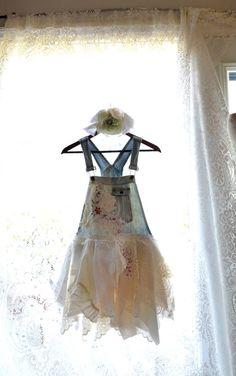 Romantic Shabby Tunic dress, Boho top, Bohemian dresses, french rose bibs, Country chic, bib overalls, true rebel clothing
