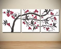 Large Canvas Wall Art Triptych Red and Brown by SarahSchmidDesigns, $280.00