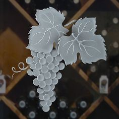Vineyard Grapes Cluster Sample B: Surface Etched - by Sans Soucie Art Glass Glass Wall Art, Stained Glass Art, Stained Glass Windows, Fused Glass, Etched Glass Door, Glass Front Door, Glass Etching, Window Glass Design, Glass Wine Cellar