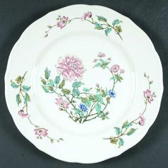 """""""Summerdale"""" china pattern with pink roses, blue flowers, & green leaves from Syracuse."""